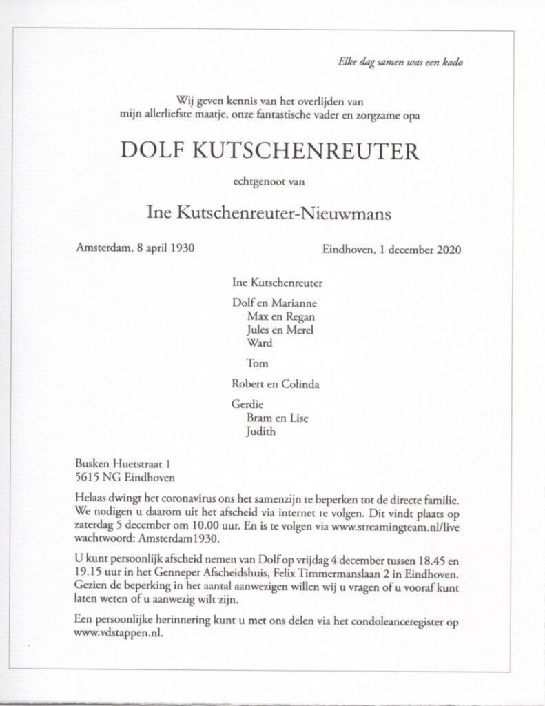 Dolf Kutschenreuter overleden